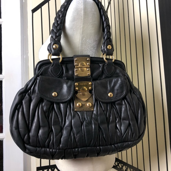 Miu Miu Bags   Black Matelass Leather Bag   Poshmark 4f4d847b18